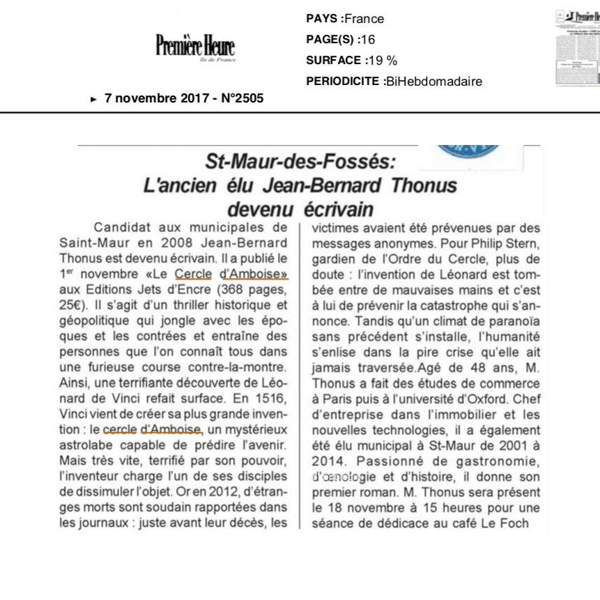 L'ancien élu Jean-Bernard Thonus devenu écrivan
